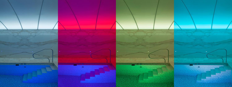 Interierova fotografie bazenu se stropnim systemem Barrisol, fotograf Roman Mlejnek