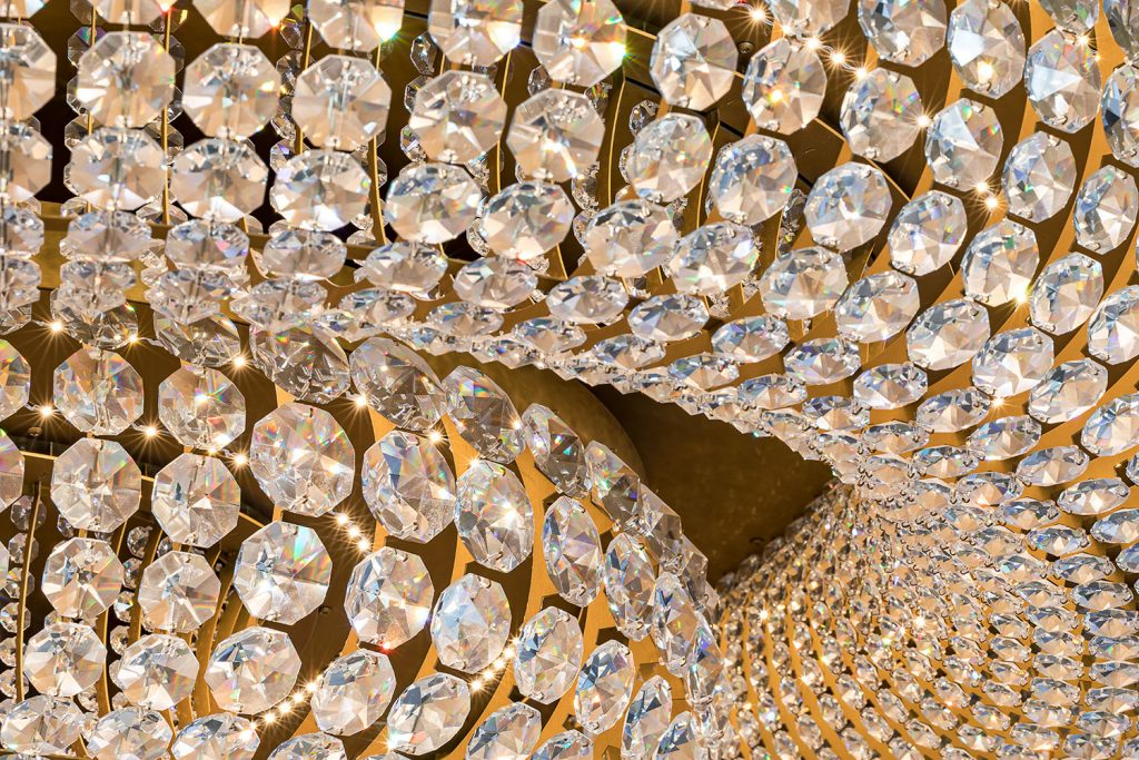Detail of hand made crystal chandelier by Preciosa