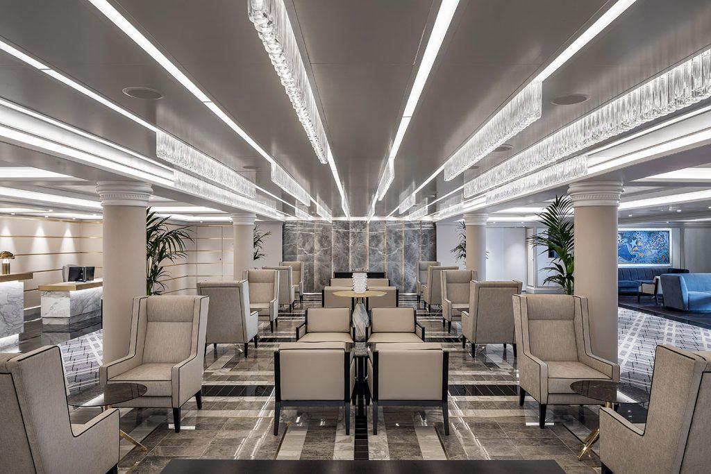 Lobby of cruise ship with custom Preciosa lighting