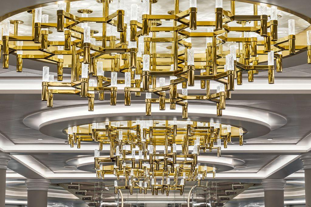 Detail of custom crystal chandelier from Preciosa