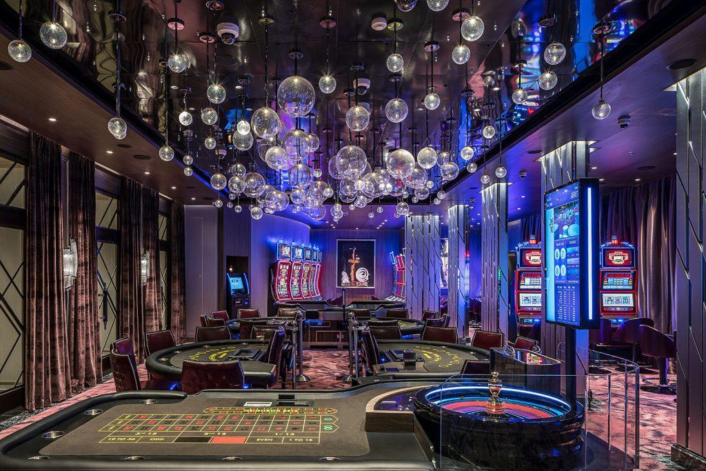 Casino interior on cruise ship with lights by Preciosa