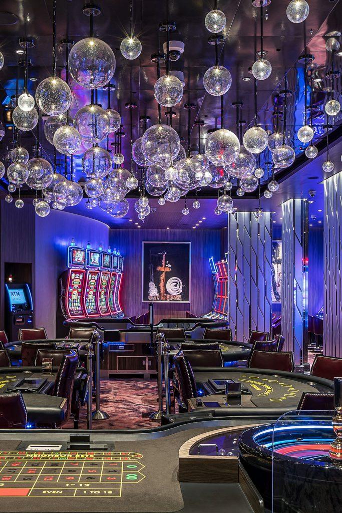 Cruise ship interior casino with custom chandelier Roman Mlejnek Photography