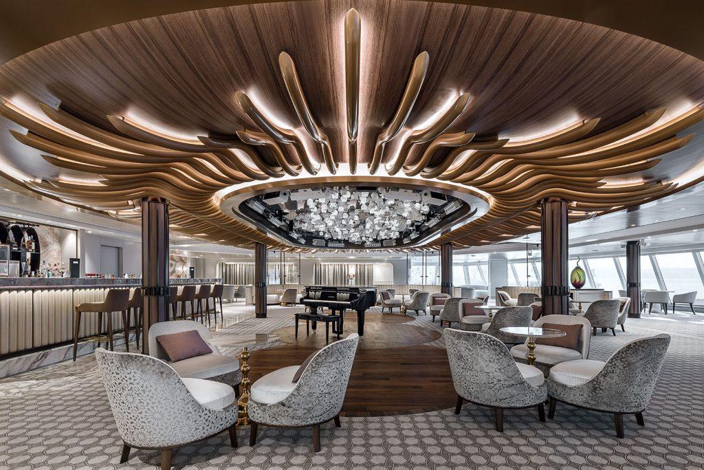 Interior photography of Seven Seas Splendor cruise ship with custom chandelier