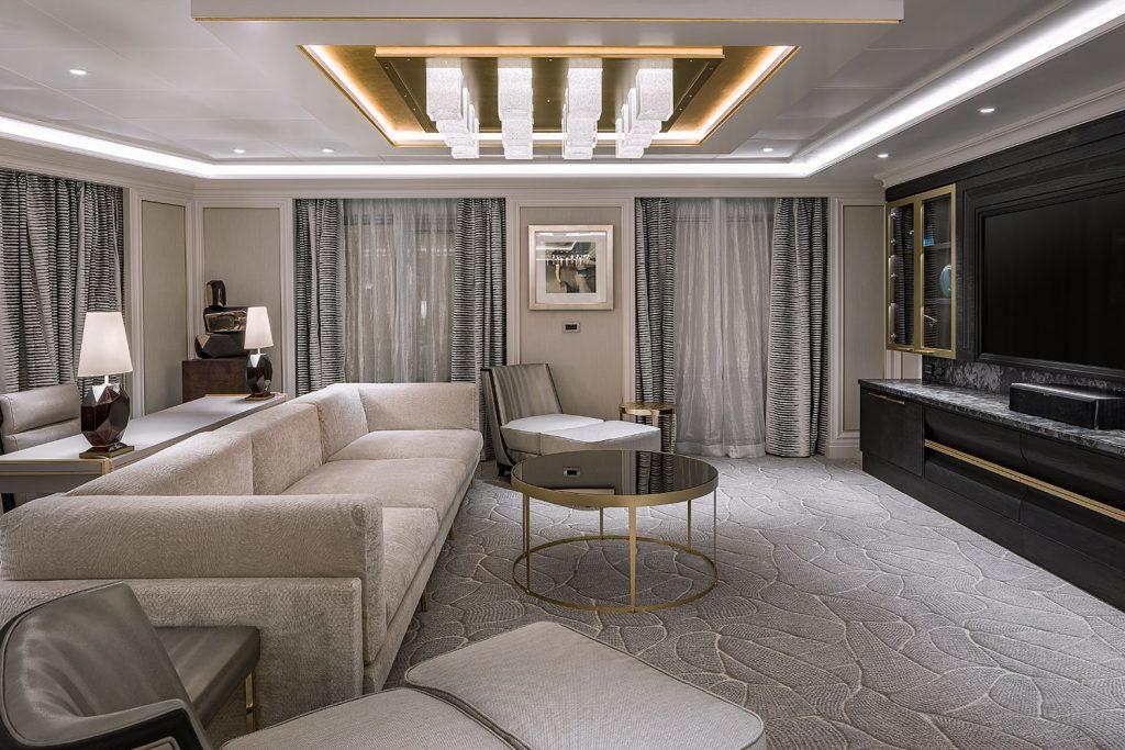 Luxury interiors of Seven Seas Splendor with Preciosa light.
